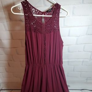 Wine color size Large long pant Romper with lace